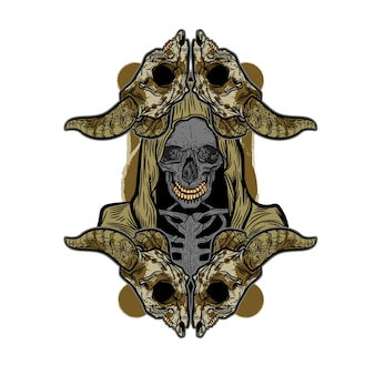 Death skull for t shirt design
