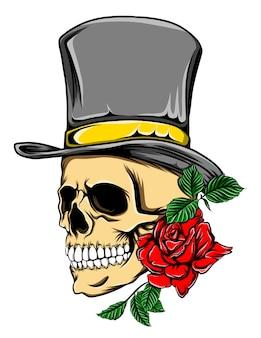 모자와 빨간 장미와 함께 죽음의 해골