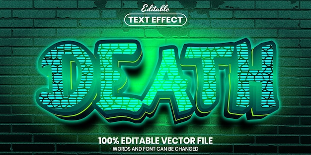 Death text, font style editable text effect