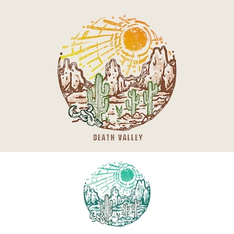Death valley desert monoline vintage illustration