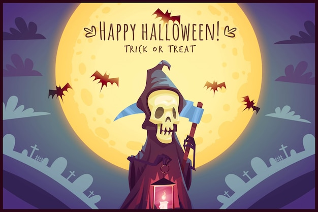 Death with scythe and glowing lamp on full moon sky background happy halloween poster trick or treat greeting card  illustration