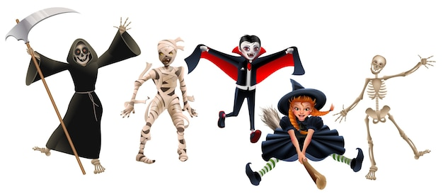 Death with scythe, mummy, dracula vampire, witch on broomstick and skeleton. set characters halloween party. isolated on white cartoon illustration