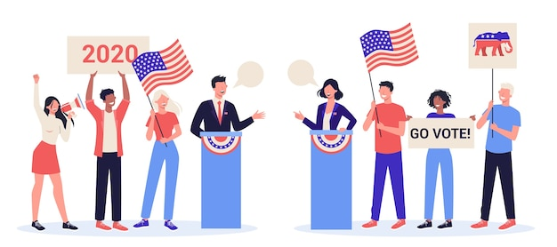 Debate concept. candidate for president at the tribune. political speech. presidential election. election speech concept. career in politics.