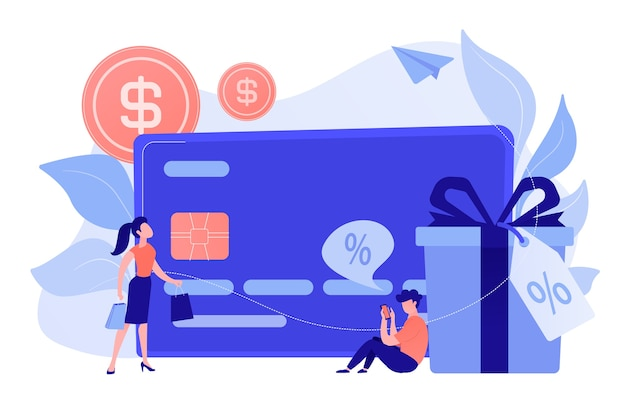 Debit card, gift box and users. online card payment and plastic money, bank card purchase and shopping, e-commerce and secure bank saving concept. vector isolated illustration.