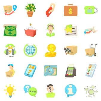 Debit card icons set, cartoon style