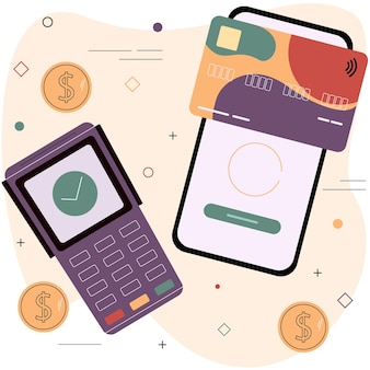 Debit or credit card and electronic payment terminal contactless payment system concept