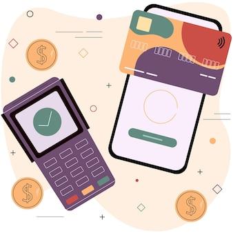 Дебетовая или кредитная карта и терминал электронных платежей концепция системы бесконтактных платежей