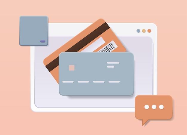 안전한 전자 무선 결제 디지털 거래 온라인 쇼핑 송금 개념을 위한 직불 또는 신용 카드 웹 서비스