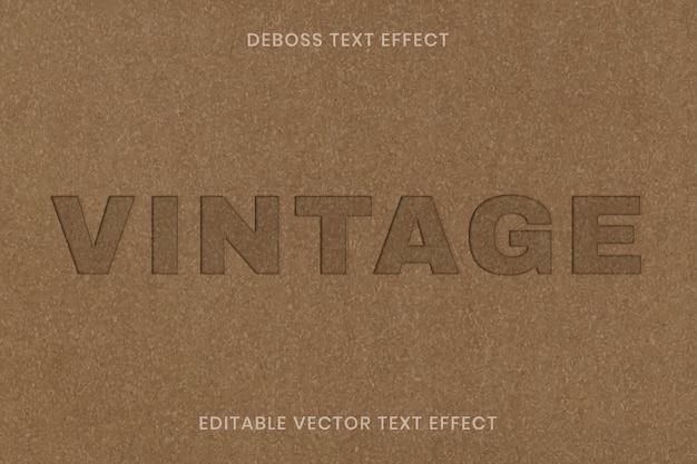 Редактируемый шаблон векторных текстовых эффектов deboss