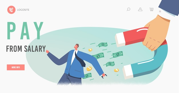 Debt collection landing page template. businessman character escape from huge hand with magnet attracting money from pockets. collector chase, borrower loan demand. cartoon people vector illustration