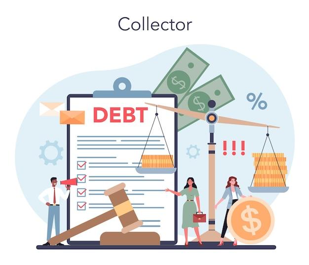 債権回収の概念。個人または事業会社が負っている債務の支払いを追求する。請求書を支払わない人を探している収集機関。
