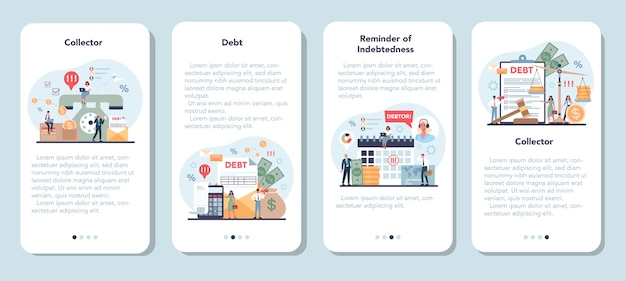 Набор шаблонов мобильного приложения для сборщика долгов.