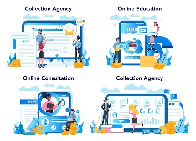 Debt collector online service or platform set