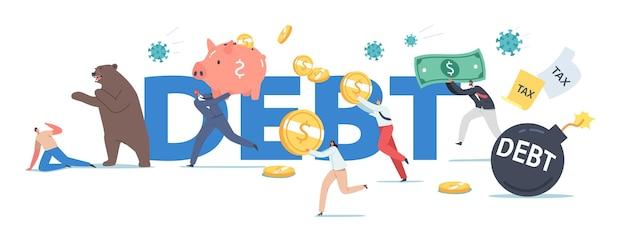 債務の概念。 covid19パンデミックでのクマ市場、コロナウイルスによるストックパニック。ビジネス投資家のキャラクターは、病原体細胞のポスター、バナー、またはチラシから逃げます。漫画の人々のベクトル図