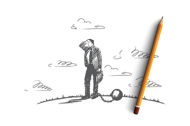 Понятие долга. ручной обращается бизнесмен прикован к большому шару. человек в финансовых проблемах изолированных иллюстрация.
