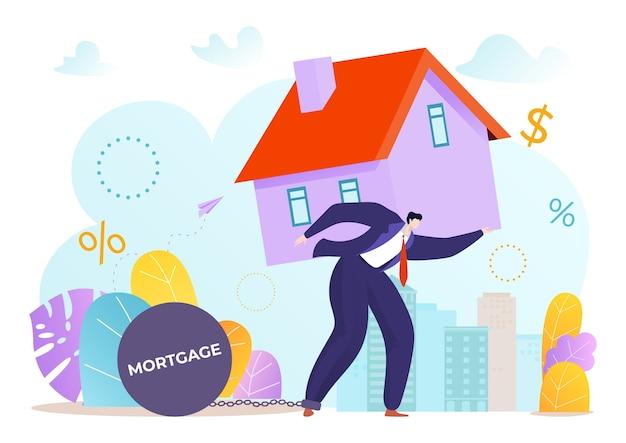 借金と重い住宅ローンを運ぶ