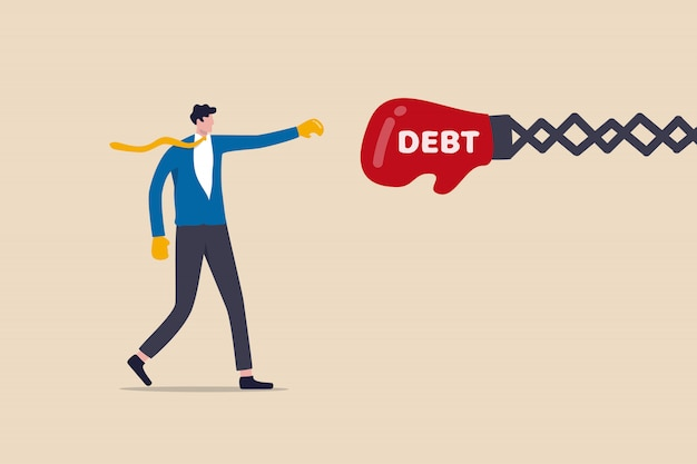 Debt management, fight with debt for financial freedom concept, professional businessman wearing boxing gloves fighting and punching with creditor or loaner huge red boxing glove with text debt.