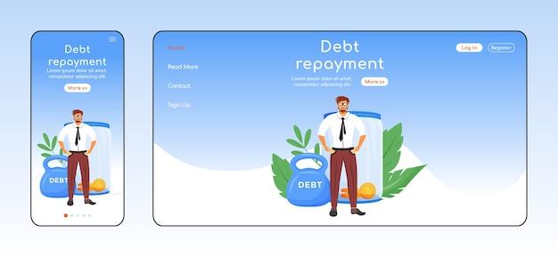 Плоский цветной шаблон адаптивной целевой страницы для погашения долга. макет домашней страницы для мобильных устройств и пк. финансовая проблема одностраничного пользовательского интерфейса веб-сайта. кросс-платформенный дизайн веб-страницы с экономическим бременем