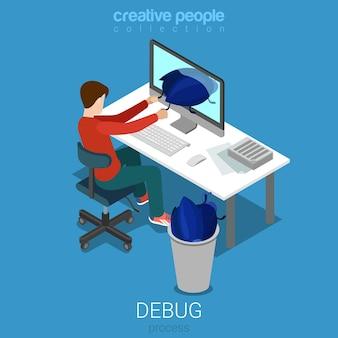 Debug process developer programmer code analytic flat isometric concept