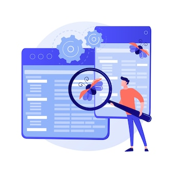Debugging firewall. antivirus scanning. malware fixing. virus attack, trojan search, bugs detection. system protection. threat diagnostic. crash tester. vector isolated concept metaphor illustration.