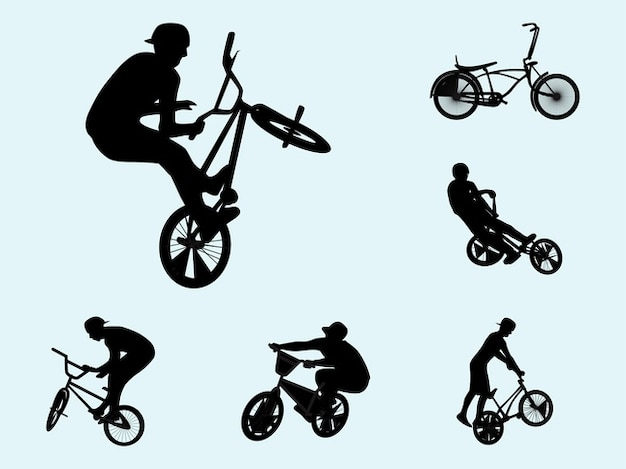 Decal biker silhouettes activity vector