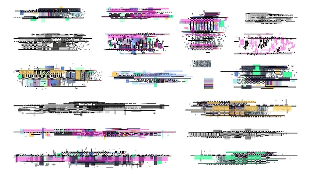 Decay signal. glitch graphics, tv noise signal collection. retro pixel television error, screen video damage. techno bug background, grunge disintegration on display vector illustration