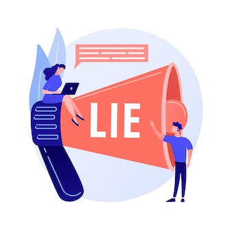 Deceitful man telling lies. people with megaphone incriminate liar with cheating. fake information spread, fraud accusation, dishonest person. vector isolated concept metaphor illustration