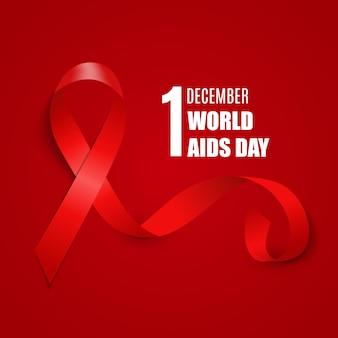1 декабря всемирный день борьбы со спидом. справочная информация. знак красной ленты. векторная иллюстрация eps10