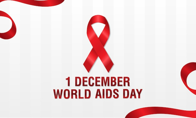 December 1st, world aids day concept. red ribbon or hiv ribbon. aids awareness.