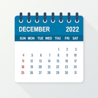 Лист календаря на декабрь 2022 года. календарь 2022 года в плоском стиле. размер а5. векторная иллюстрация.
