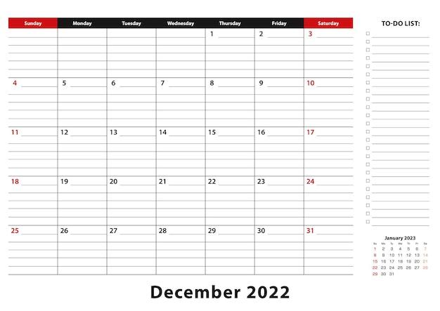 Декабрь 2022 г. ежемесячная неделя настольного календаря начинается с воскресенья, размер a3.