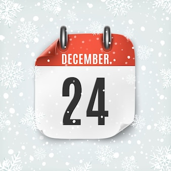 December 24 calendar icon with snow and snowflakes. christmas eve.