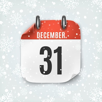 December 31 calendar icon with snow and snowflakes.