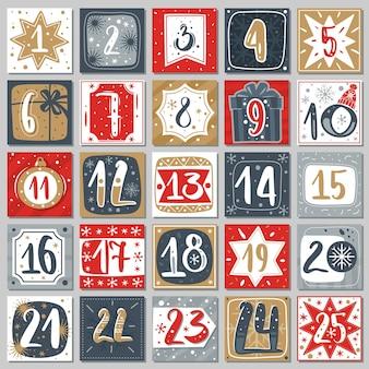 Декабрьский адвент-календарь. рождественский плакат обратный отсчет для печати теги пронумерованный плакат с рождественским орнаментом красного, синего и золотого цветов, зимняя открытка вектор творческий шаблон