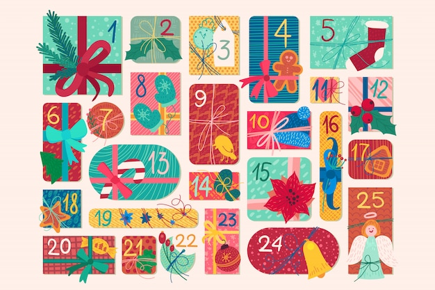 December festive advent calendar illustration