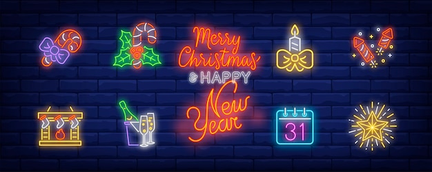 December holidays symbols set in neon style