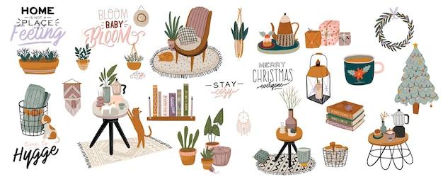 12月の家の装飾-花輪、猫、木、ギフト、キャンドル、テーブル。居心地の良い冬のホリデーシーズン