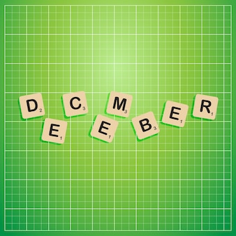 December month cut out letters stick on information board