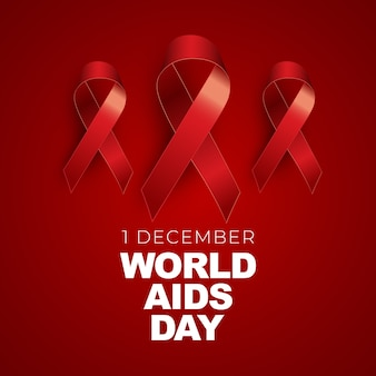 December world aids day concept with red ribbon sign.