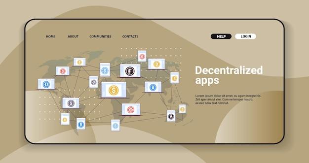 Децентрализованные приложения на экранах ноутбуков концепция технологии криптовалюты и блокчейн горизонтальное пространство для копирования