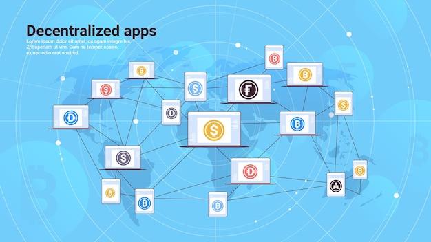 Децентрализованные приложения на экранах ноутбуков концепция криптовалюты и технологии блокчейн горизонтальная