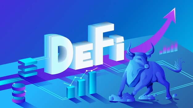 Decentralized finance defi bull trend, isometric composition of cryptocurrency and blockchain. bullish market, charts and up arrows. vector illustration