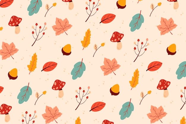 Deciduous leaves hand drawn background