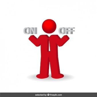 Решение бизнесмен красный значок