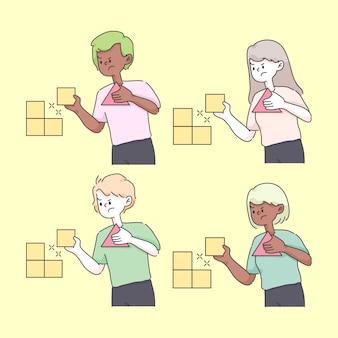 의사 결정 옵션 개념 귀여운 그림 선택