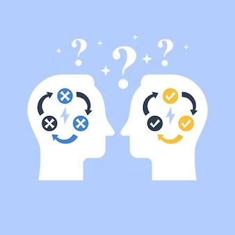 Decision making, negotiation and persuasion, communication skill, false logic circle, logical solution, critical thinking, psychology or psychiatry concept, flat illustration