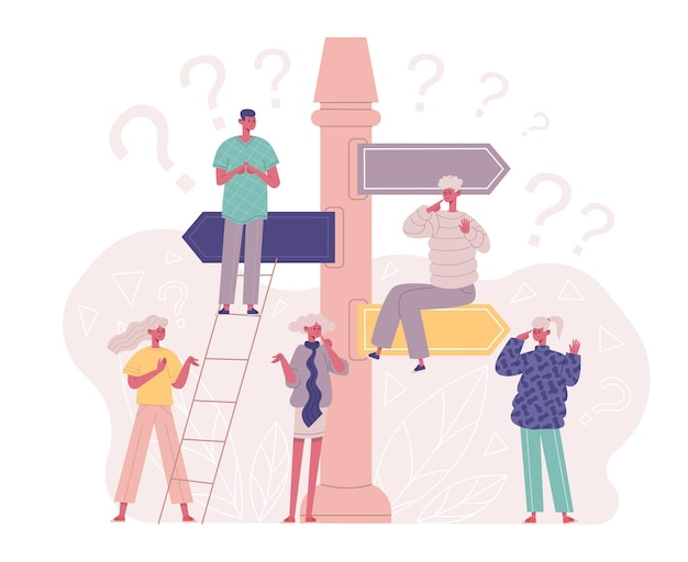 Decision making, undecided pensive characters at direction crossroads. thoughtful people searching right solution vector illustration. undecided persons concept. man and woman searching correct way