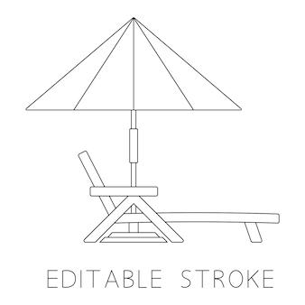 비치 파라솔이 있는 데크 의자 라운지 또는 일광욕용 침대 개요 편집 가능한 획 벡터