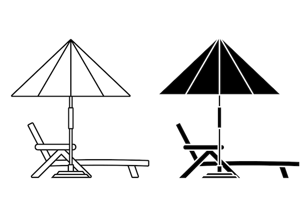 Deck chair lounge or sun bed with a beach umbrella beach or pool umbrella linear icon with sun bed