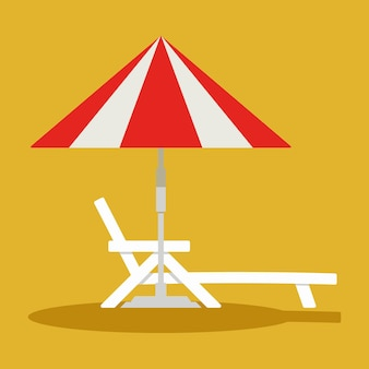 Deck chair lounge or sun bed with a beach umbrella beach or pool umbrella linear with sun bed